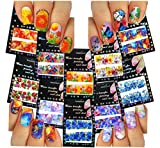 Nail Art Water Slide Tattoo Decals ♥ Full-Cover ♥ Abstract & Large Flowers, 10 - pack ♥ /CVII/