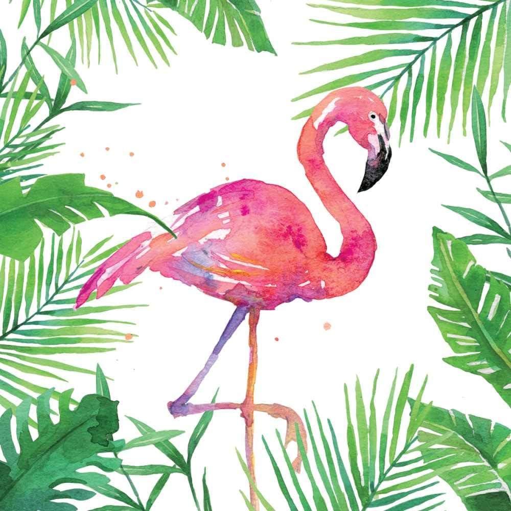 Paperproducts Design 1252707 Beverage Napkin, Tropical Flamingo