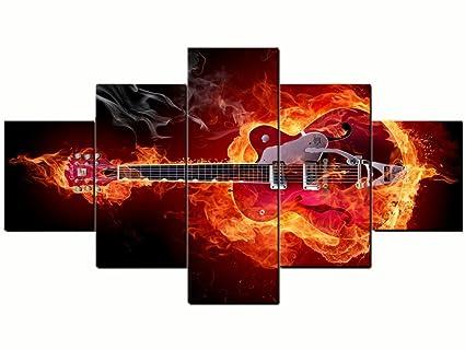 96F impresión de lienzo, fuego, llama, impresiones enmarcadas, guitarra eléctrica, de