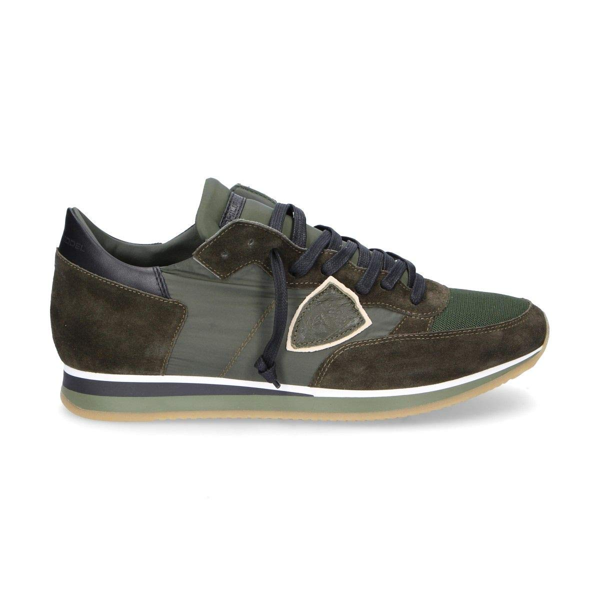 - PHILIPPE MODEL Men's TRLUW037 Green Suede Sneakers