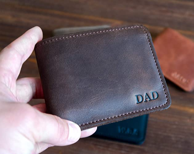 Leather wallet mens handmade,Personalized gifts for dad,First fathers day gift,Engraved dad gift,Leather gifts for men 3rd anniversary