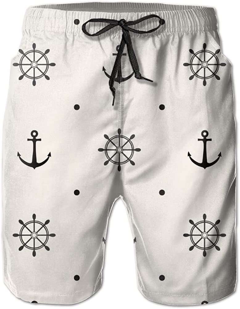 Mens Anchor Pattern Quick Drying Breathable Swim Trunks