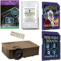 AtmosFearFx Christmas and Halloween Digital Decoration Kit includes 1900 lumen Projector, Hollusion + Reaper Bros Rear Projection Screens, Night Before Christmas and Macabre Manor on SD Cards