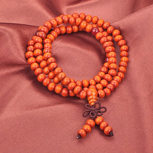 Yellow Orange Mala Rosary Prayer Round Bead String Beaded Stretch Bracelet