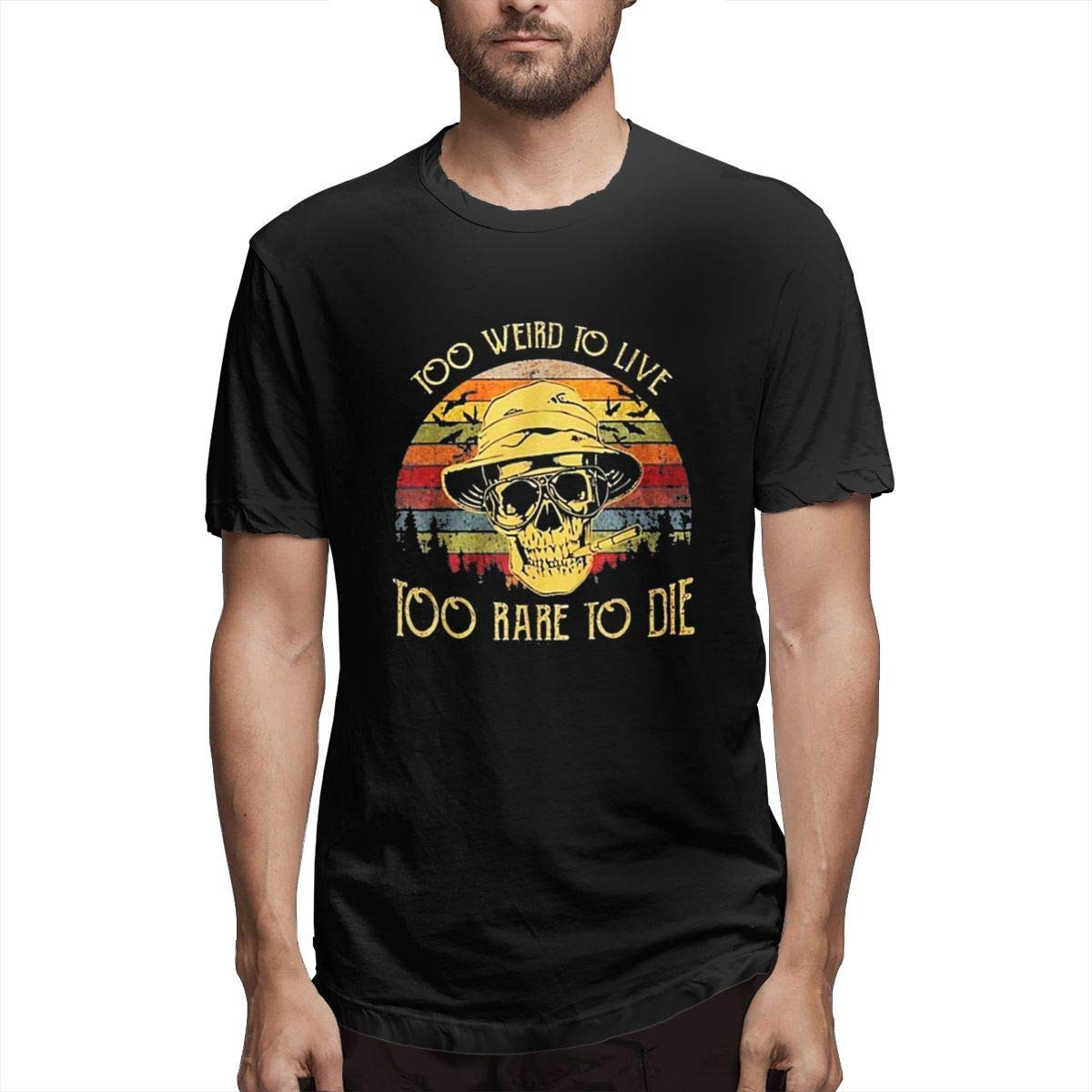 STARKLY Chic Fashion T Shirt,Too-Weird-to-Live-Too-Rare-to-Die Short Sleeve Round Neck Tee Casual Blouse Black