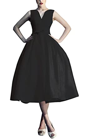 Ethel Womens V-neck Lace Up 50s Cocktail Dresses for Evening Party