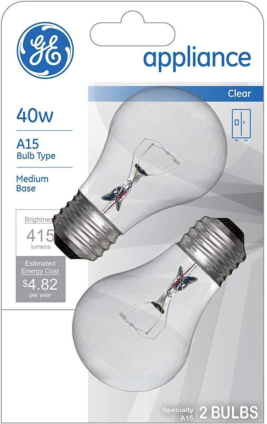 1-Pack A15 Bulb Type 415 Lumens Medium Base 2-Count per Pack GE Appliance Clear Light Bulb 40w