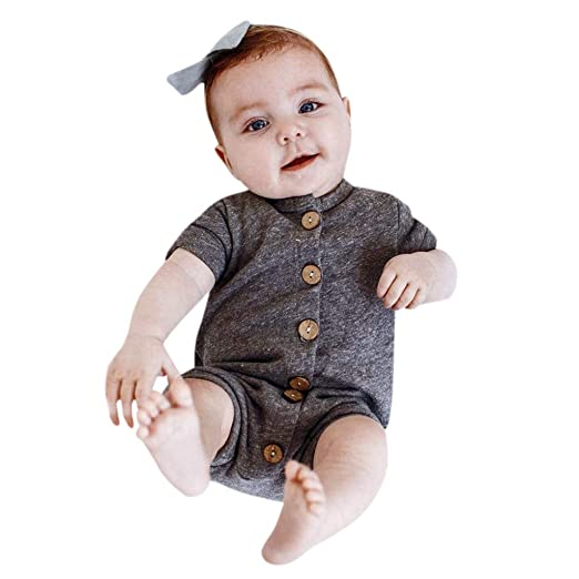 daa1561c5 Amazon.com: Infant Baby Boy Girl Romper, One Piece Button Short Sleeve  Jumpsuit, Fashion Style for Newborn Kid: Clothing