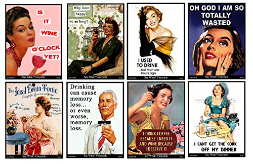 Funny Retro Vintage Themed Wine Bottle Labels Liquid Therapy 2 - Set of 8 Wine Bottle Labels - 5 Inch X 4 Inch
