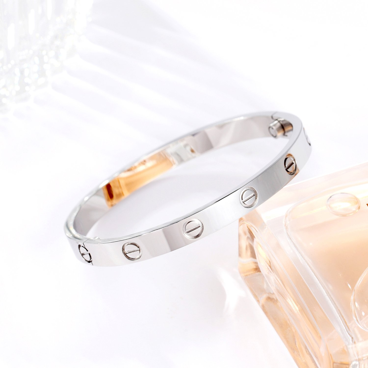 Z.RACLE Love Bangle Bracelet Stainless Steel with Screw - Best Gift for Love - 6.3IN White Gold by Z.RACLE (Image #3)