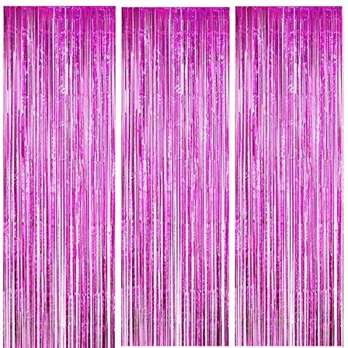 ONUPGO 3 Pack 3.28 ft x 9.8 ft Fuchsia Foil Curtains Metallic Tinsel Fringe Curtain Photo Booth Props Backdrop Curtain Perfect for Birthday Wedding Baby Shower Christmas Holiday Party Decorations (Fuchsia Foil)