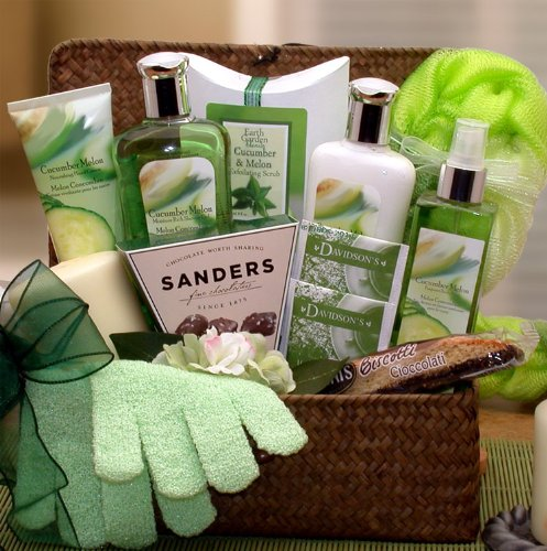 Cucumber and Melon Spa and Treats Gift Basket - Makes a Perfect Gift for Women ()
