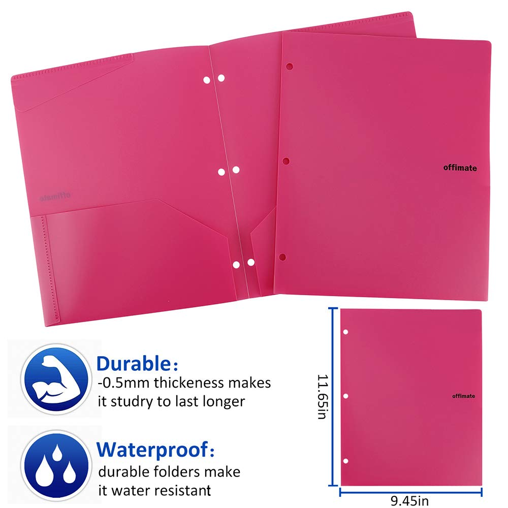 Plastic Folders 6PCS Heavy Duty Plastic Folders with Pockets Letter Size Assorted Colors for School Work and Home 2 Pocket Plastic Folders