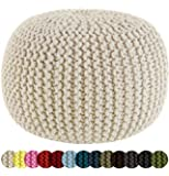Cotton Craft - Hand Knitted Cable Style Dori Pouf - Ivory - Floor Ottoman - 100% Cotton Braid Cord - Handmade & Hand stitched - Truly one of a kind seating - 20 Dia x 14 High