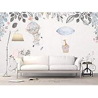 Duvarkapla Sıcak Hava Balon ve Tavşan Bisiklet içinde sevimli Hayvanlar Bisiklet Doku Çizim Sanat Duvar Kağıdı Yaprak Duvar Resimleri Bebek Odası ve Çocuk Odası için 315x200 cm