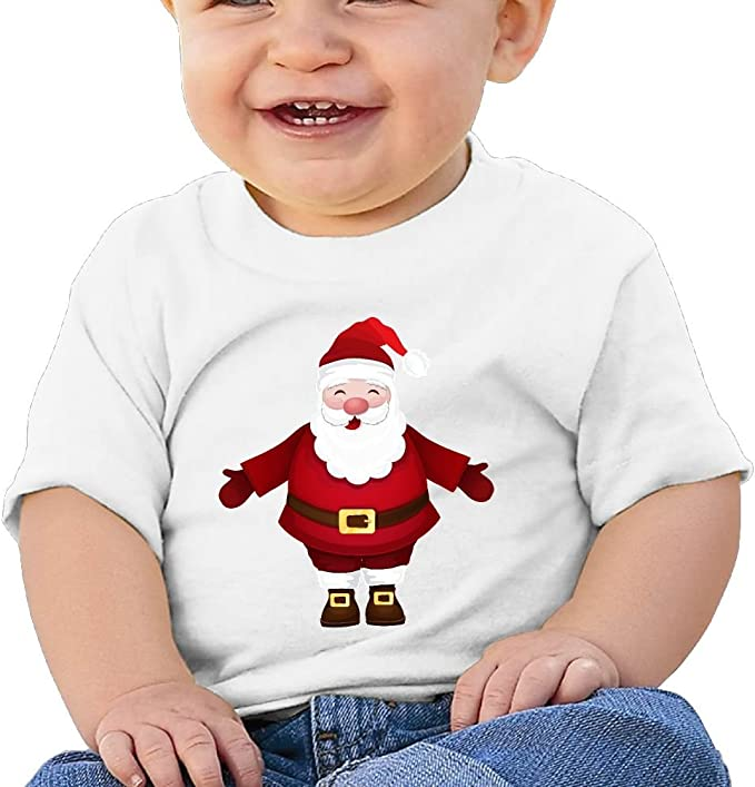 FFWWLHR Santa Clauss Gift Baby Short Sleeve Tees Unisex Cute Merry Christmas Cotton Baby Toddler Undershirts Tops