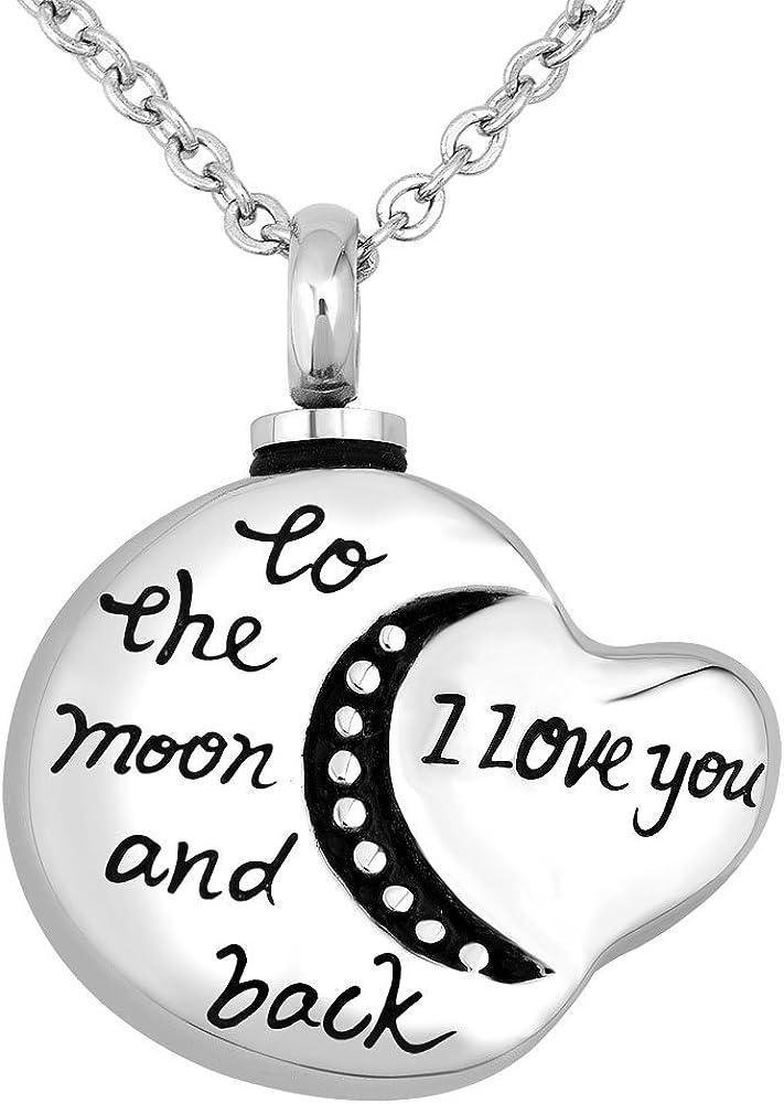amour cœur /& Moon Pendentif et Collier pour cendres. Cremation Memorial Souvenir