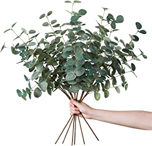 Miracliy 6 PCS Artificial Eucalyptus Leaves Greenery Stems Faux Silk Silver Dollar Eucalyptus Leaf Branches Green Bulk for Home Party Wedding Decoration