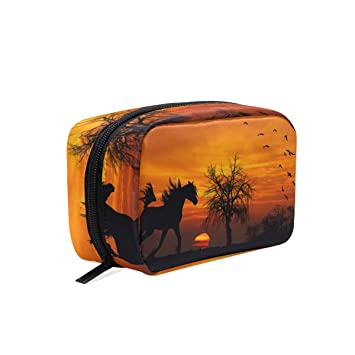 f126dff39691 Amazon.com : Makeup Organizer Horse And Sunset Womens Zip Toiletry ...