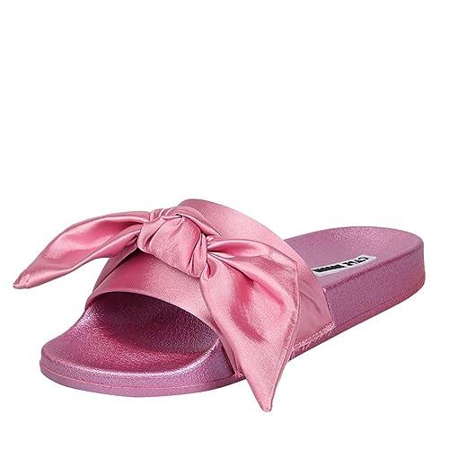 11110d9f0 CAPE ROBBIN Women Open Toe Satin Bow Slide Slip On Flat Sandal Flip Flop  Slipper Shoes