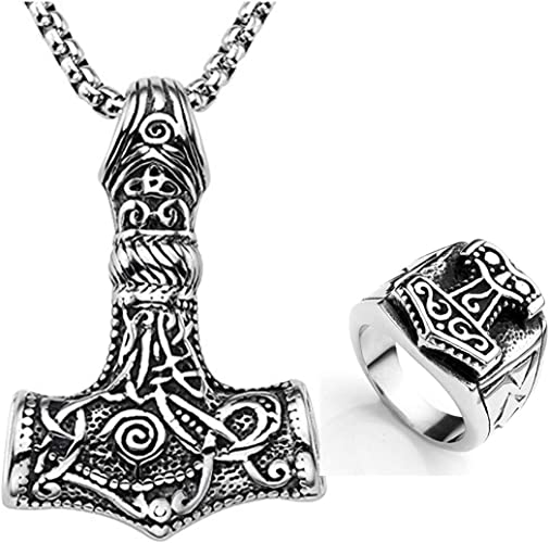 Cool Necklace Gals Viking Symbol Pendant Thor/'s Hammer Circle Necklace Jewelry/&
