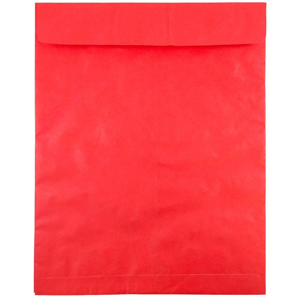 JAM PAPER Tyvek Tear-Proof Open End Catalog Envelopes - 11 1/2 x 14 1/2 - Red - 10/Pack