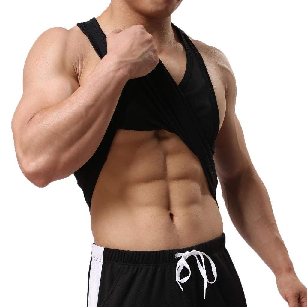 Giulot Men's Classic Basic Outdoor Quick-Drying Sports Tank Tops Ultra Soft Stretching Fitness Vest Basic Training Shirt Black