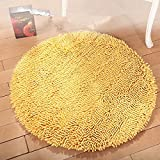 Hoomy Chenille Round Rugs Yellow Shaggy Floor Mats Non-skid Durable Rug for Chair Soft Yoga Carpet 2.6FT Review