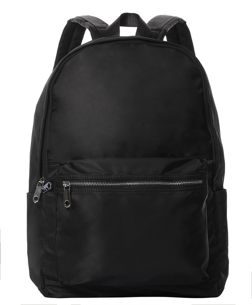 Veenajo Unisex Lighweight Backpack Water Resistant School Rucksack Travel Casual Daypack (Black)