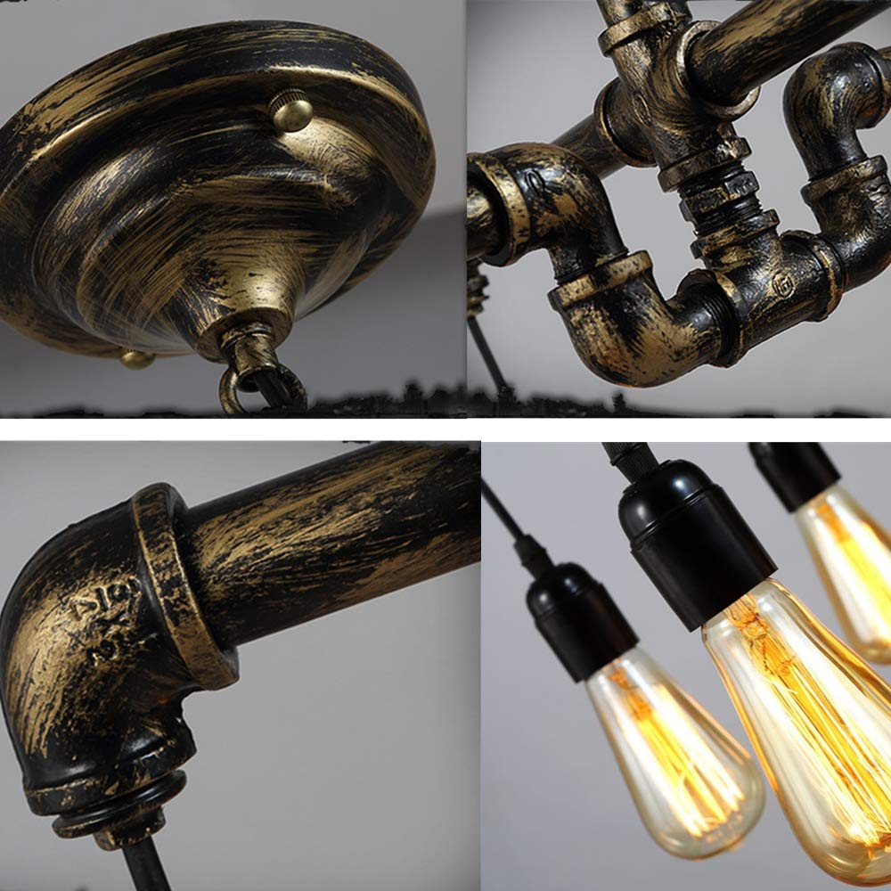 Ladiqi Industrial Vintage Water Pipe Chandelier 4-Lights Dining Table Hanging Light Pendant Lighting Fixture for Dining Room Kitchen
