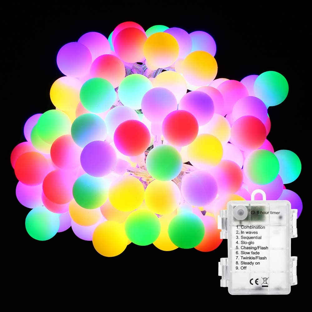 BrizLabs Christmas Globe String Lights, 2 Pack 17.4ft 50 LED Fairy Ball Lights Battery Powered Waterproof 8 Modes Starry String Light for Bedroom Garden Xmas Tree Wedding Party Decor, Multicolor
