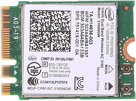 Intel Dual Band Wireless 802.11 AC 3160 NGW NGFF Bluetooth 4.0 WiFi WLAN Card
