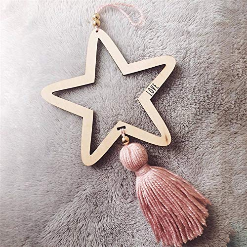 Nordic Style Wooden Star Wind Chimes Kid Home Accessories Art Wall Hanging for Girls Living Room Toddler Dream Catcher (Color : Pink) by DUOER-wind chimes (Image #2)