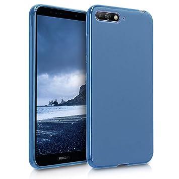 kwmobile Funda para Huawei Y6 (2018) - Carcasa para móvil en [TPU Silicona] - Protector [Trasero] en [Azul Marino]
