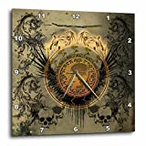 3dRose Awesome Skull with Wings on Vintage Background Wall Clock, 13 x 13 For Sale