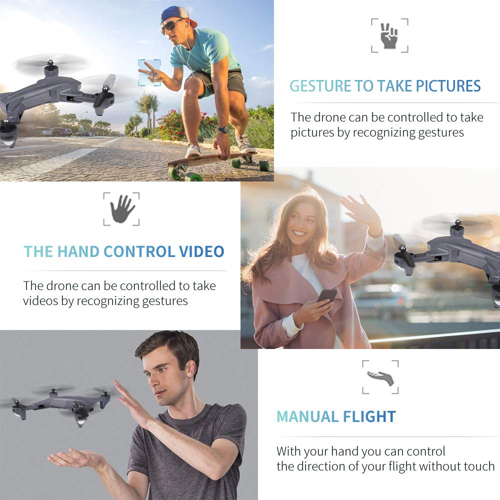 GoolRC Drone with Camera 4K VISUO WiFi FPV HD Camera Video and Optical Flow Positioning Camera XS816 Foldable RC Quadcopter for Beginners