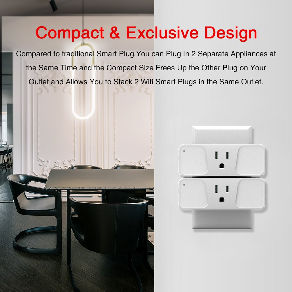 Wi-Fi Smart Plug, Astarry Mini Outlets Smart Socket No Hub Required Compatible with Alexa and Google Assistant USB Charger 5V 2.1A,support Android and IOS APP,15A by Astarry (Image #4)