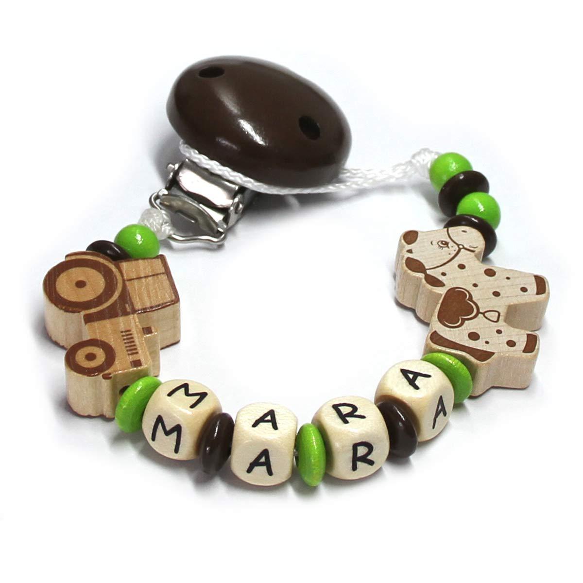 Baby Schnullerkette mit Perlen aus Holz und Wunschname Traktor mit Pferd Mara