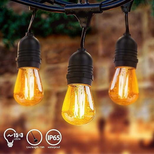 Cadena de Luces, Impermeable Guirnaldas luminosas de Exterior con 15 LED Bombillas y 3 Bombilla de Repuesto, Cadena de Bombillas Perfecto para Jardín Patio Trasero Fiesta Navidad, 15M: Amazon.es: Iluminación