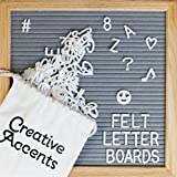 Creative Accents Gray Felt Letter Board 10x10 Inches - Oak Frame Changeable Letter Board Includes 360 Characters and Emojis