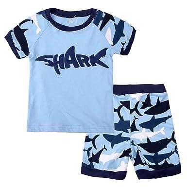 9ba923464 Amazon.com  Dizoon Little Boys Shark Short Sleeve Pajamas Sets 2 ...