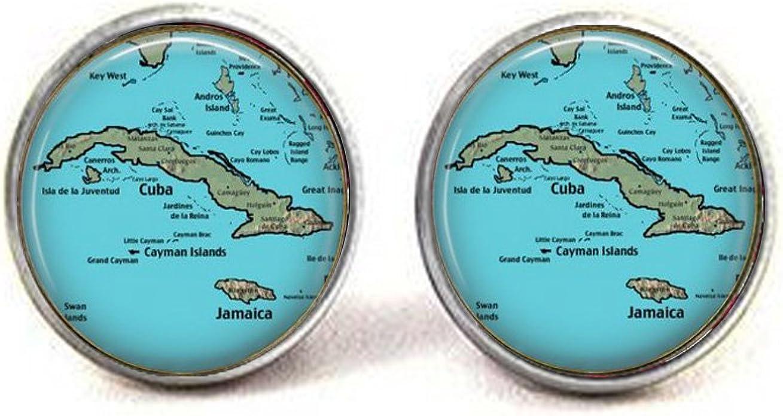 GiftJewelryShop Bronze Retro Style Cuba Flag Vintage Keys Charm Pendant Necklace