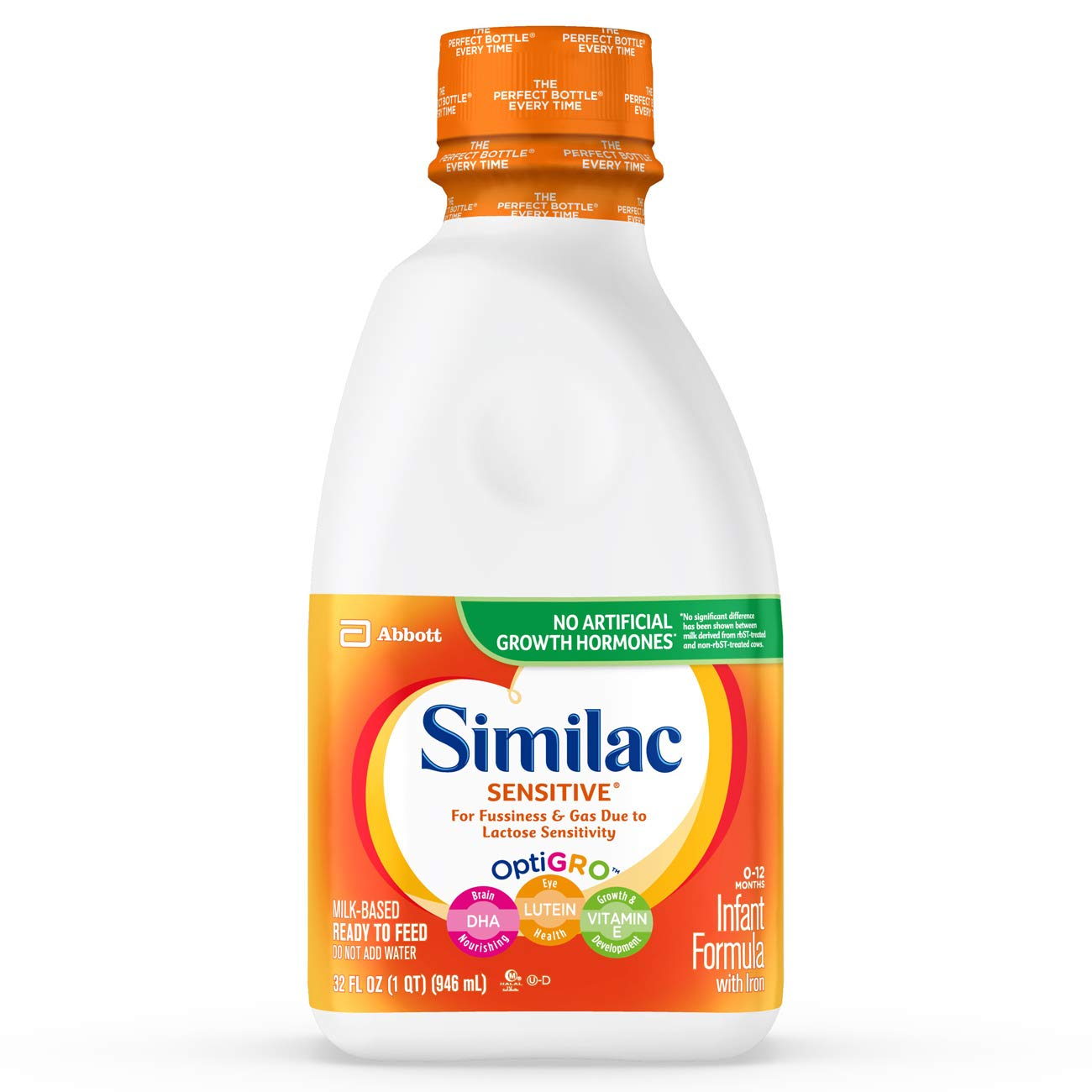Similac Sensitive Infant Formula with Iron, For Fussiness and Gas, Baby Formula, Ready-to-Feed, Ready to Feed, 1 qt Abbott Nutrition 070074575339