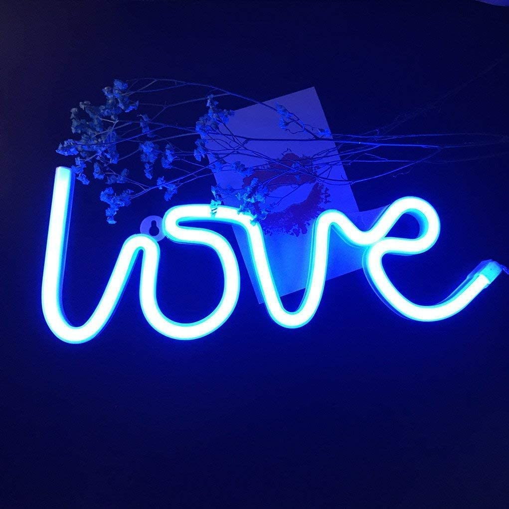 "LED Love Sign 13.70"" Large Neon Love Signs Light Art Decorative Lights Wall Decor for Christmas Valentine's Gift Girls Room Wedding Party Kids Room Living Room House Bar Pub Hotel Beach Recrea"