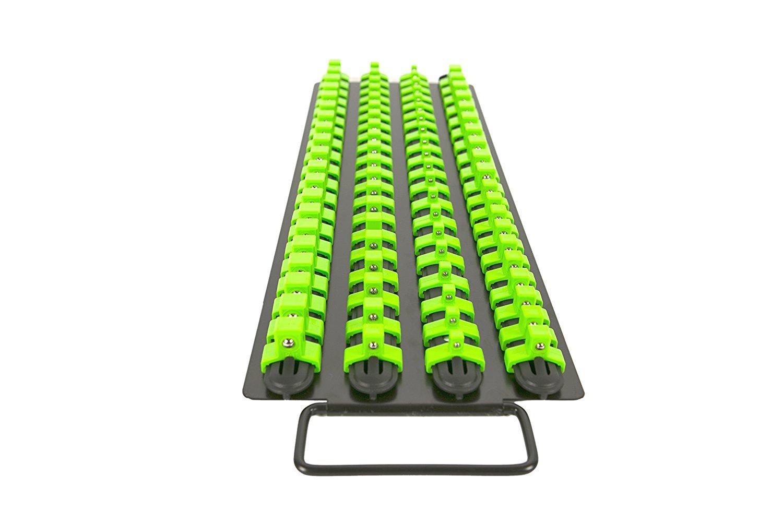 Olsa Tools Portable Socket Organizer Tray | Black Rails with Green Clips | Holds 80 Sockets | Premium Quality Socket Holder