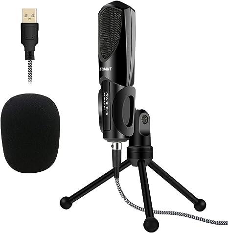 USB Podcast Vocal Mikro Dynamisch Mikrofon Set Schirm Stativ Popschutz Schwarz