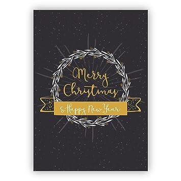 Weihnachtsgrüße Englisch Business.1 Weihnachtsgruß Edle Englische Weihnachtskarte Mit Kranz Und