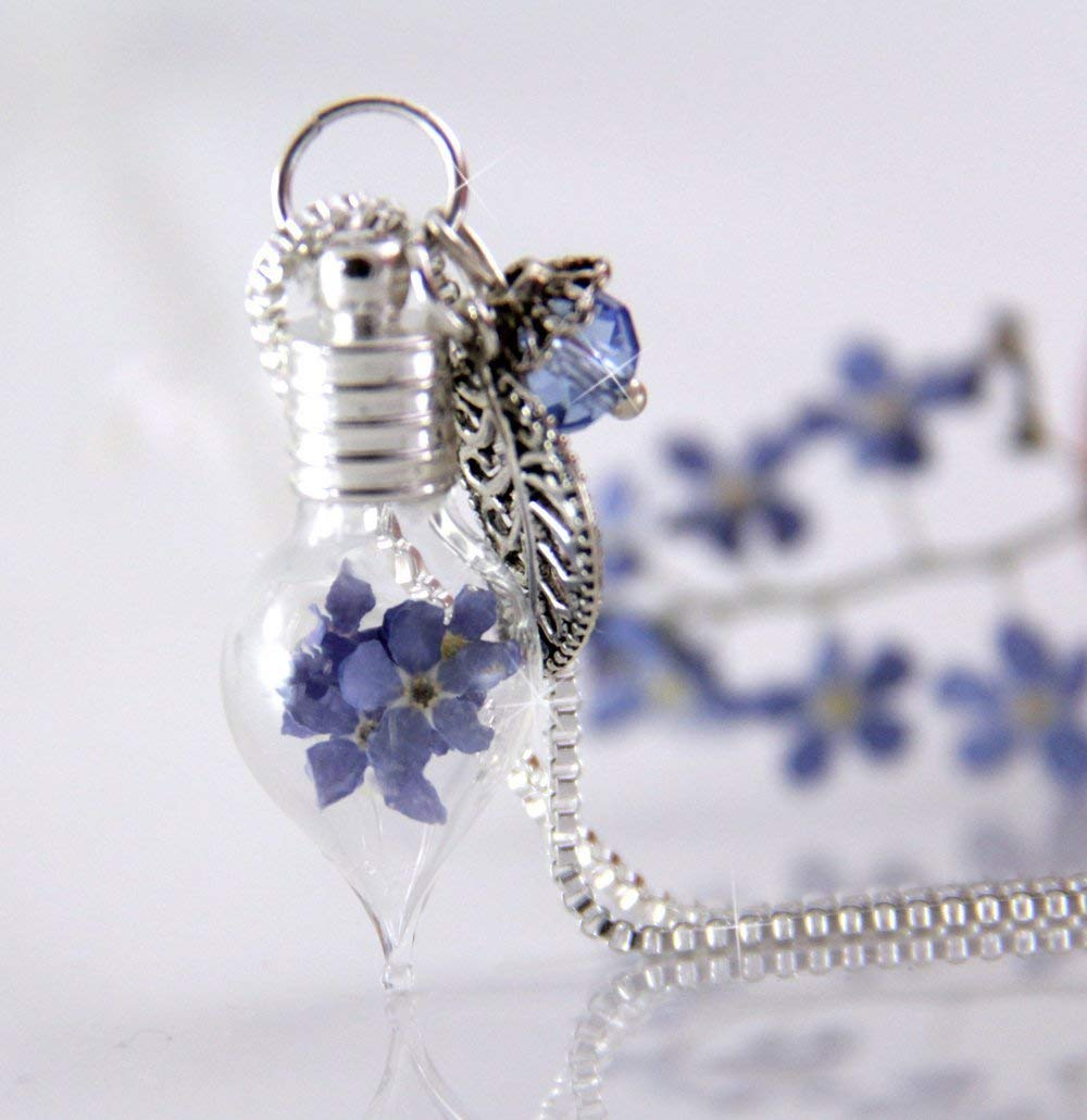 Teardrop Vial Necklace with Real Forget Me Nots