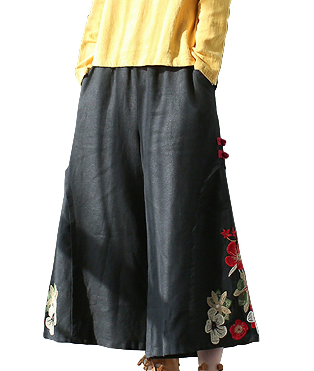 YESNO P45 Women Cropped Pants 100% Linen Casual Loose Wide Leg Ethnic Embroidery/Pockets (M, PM6 Black)