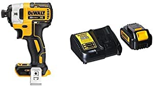 "DEWALT DCF887B 20V MAX XR Li-Ion Brushless 0.25"" 3-Speed Impact Driver with DCB200C Battery Pack & Charger"